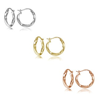 Mondevio Silver 2mm Twist Round Hoop Earrings (Set of 3)