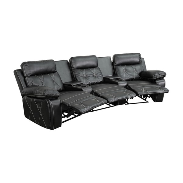 Offex Real Comfort Series 3-seat Reclining Leather Theater Seating Unit with Curved Cup Holders 18020231