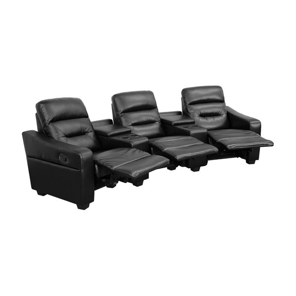 Offex Futura Series 3-seat Reclining Leather Theater Seating Unit with Cup Holders 18020237
