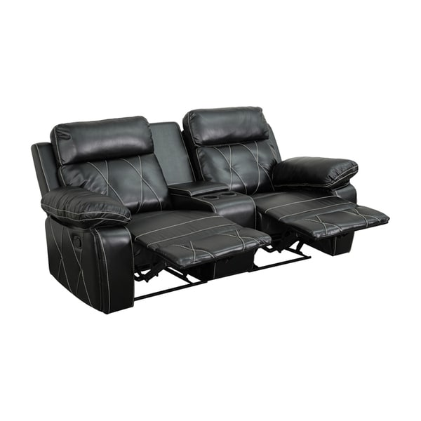 Offex Real Comfort Series 2-seat Reclining Leather Theater Seating Unit with Straight Cup Holders 18020401