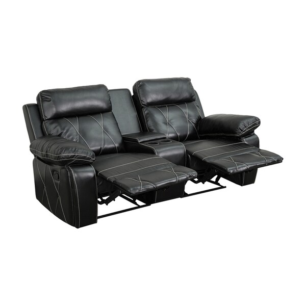 Offex Real Comfort Series 2-seat Reclining Leather Theater Seating Unit with Straight Cup Holders 18020402