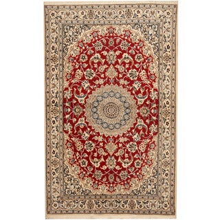 Herat Oriental Persian Hand-knotted Nain Red/ Ivory Wool & Silk Rug (3'7 x 6')