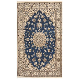 Herat Oriental Persian Hand-knotted Nain Blue/ Ivory Wool & Silk Rug (4'1 x 6'9)