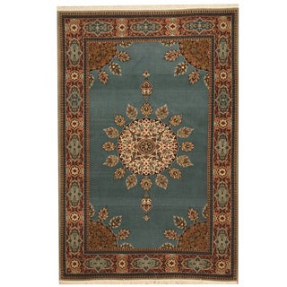 Herat Oriental Persian Hand-knotted Tribal Mashad Blue/ Red Wool Rug (4'2 x 6'2)