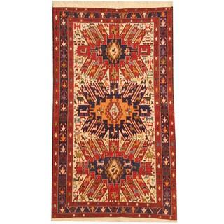 Herat Oriental Persian Hand-woven Tribal Soumak Kilim Ivory/ Navy Wool Rug (3'9 x 6'8)