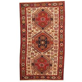 Herat Oriental Persian Hand-woven Tribal Soumak Kilim Ivory/ Red Wool & Silk Rug (3'9 x 6'9)