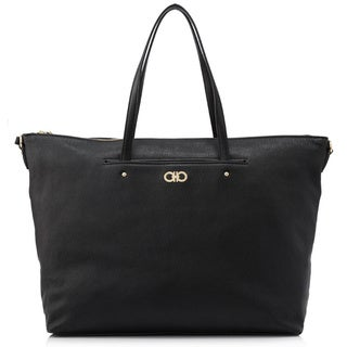 Salvatore Ferragamo Mika Black Leather Origami Tote