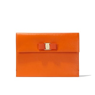 Salvatore Ferragamo Vara Orange Leather Clutch