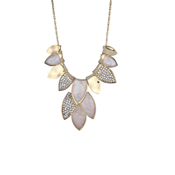 Brass Rhinestone Leaf Necklace