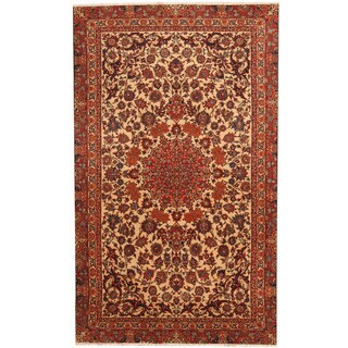 Herat Oriental Persian Hand-knotted Isfahan Ivory/ Red Wool & Silk Rug (3'10 x 6'5)