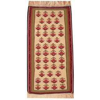 Herat Oriental Persian Hand-woven Senneh Kilim Ivory/ Green Wool Rug (3'3 x 6'3)