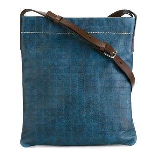 Salvatore Ferragamo Blue Gancio Print Cross-body Bag