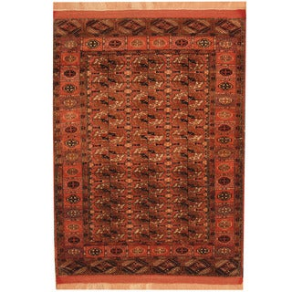 Herat Oriental Afghan Hand-knotted Turkoman Salmon/ Navy Wool & Silk Rug (3'9 x 5')