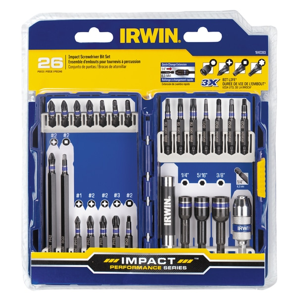 Irwin 1840393 Steel Impact Screwdriver Bit Set 26-count