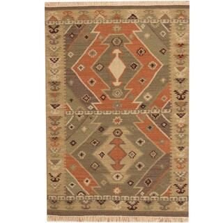 Herat Oriental Indo Hand-woven Kilim Green/ Beige Wool Rug (4' x 6')