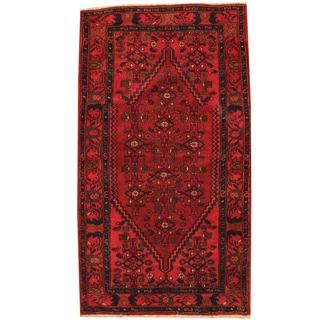 Herat Oriental Persian Hand-knotted Hamadan Red/ Navy Wool Rug (3'6 x 6'1)