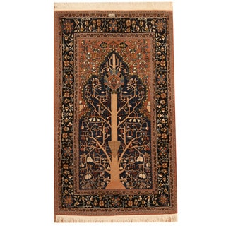 Herat Oriental Persian Hand-knotted Bakhtiari Navy/ Salmon Wool Rug (3'9 x 6'3)