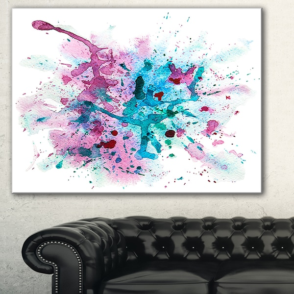 Designart 'Blue and Purple Paint Stain' Abstract Watercolor Canvas Print