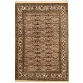 Herat Oriental Indo Hand-knotted Tabriz Ivory/ Green Wool & Silk Rug (4'7 x 6'8)