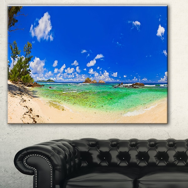 Designart 'Tropical Beach with Green Sea' Landscape Photo Canvas Print