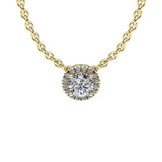 14K Yellow Gold 1/2ct Diamond Halo Center Of The Universe Necklace (H-I, I1-I2)