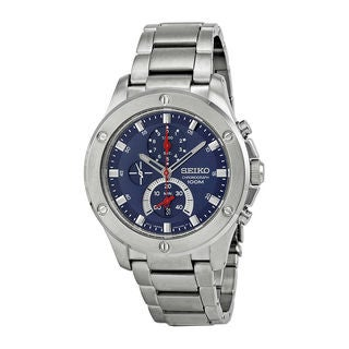 Seiko Men's Stainless Steel Blue Chronograph Dial Quartz Watch