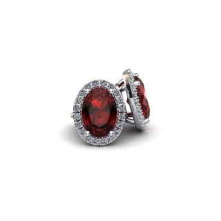 14k White Gold 2 1/4ct Oval Shape Garnet and Halo Diamond Stud Earrings