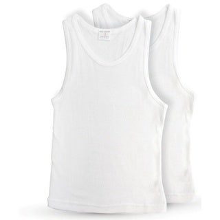 Key Chain Boys' Classic White Cotton Tank Top Undershirt (Pack of 2)