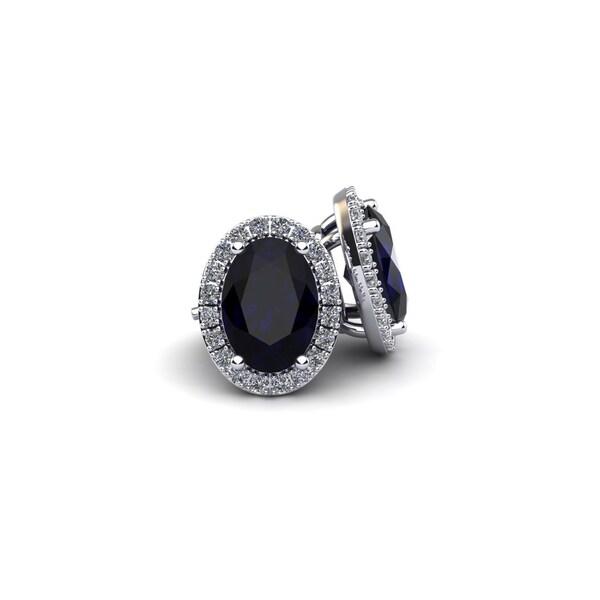 10k White Gold 2 1/4ct Oval Shape Sapphire and Halo Diamond Stud Earrings