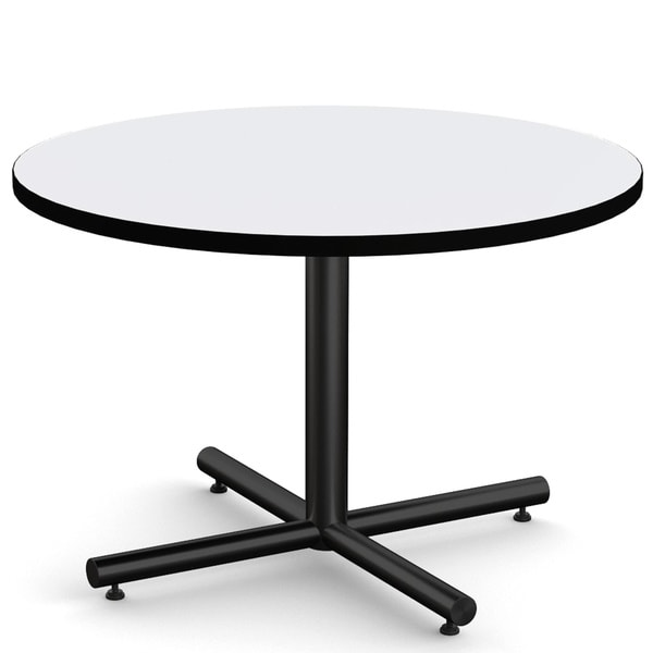 MyOfficeTable 42-inch Round Light Grey Hospitality Table with X-base