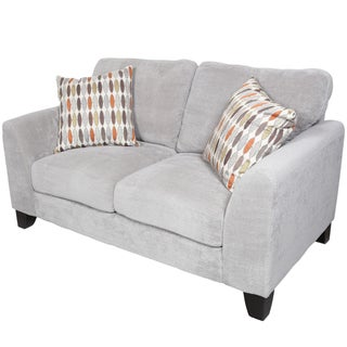 Porter Brighton Light Grey Textured Microfiber Contemporary Loveseat with 2 Woven Accent Pillows