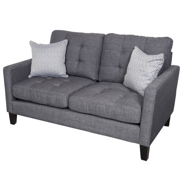 Porter Draper Blue Gray Mid Century Loveseat with 2 Woven Greek Key Accent Pillows