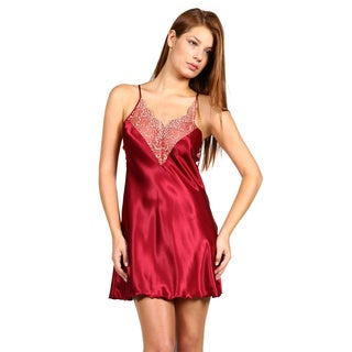 Miorre Burgundy Satin and Lace Chemise