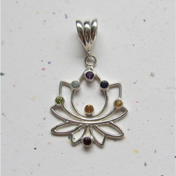 Sterling Silver Multi-gemstone Lotus Chakra Pendant Necklace (Indonesia)