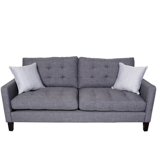 Porter Draper Blue Gray Mid Century Sofa with 2 Woven Greek Key Accent Pillows