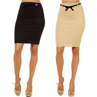 Women's High Waist Black/ Sand Pencil Skirt (Pack of 2)