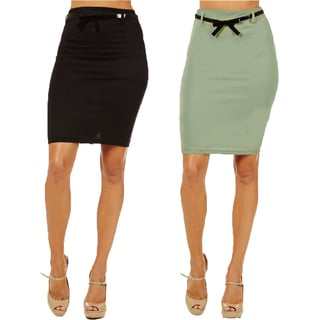 Women's High Waist Black/ Mint Pencil Skirt (Pack of 2)