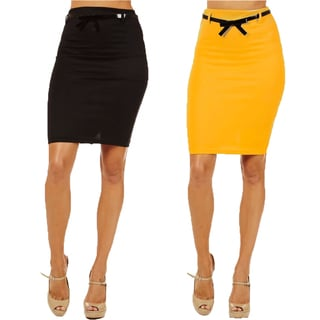 Women's High Waist Pencil Skirt (Pack of 2)