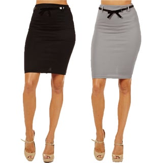 Women's High Waist Pencil Skirts (Pack of 2)