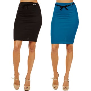 Women's High Waist Jade/ Black Pencil Skirts (Pack of 2)
