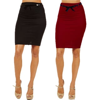 Women's High Waist Black/ Burgundy Pencil Skirts (Pack of 2)