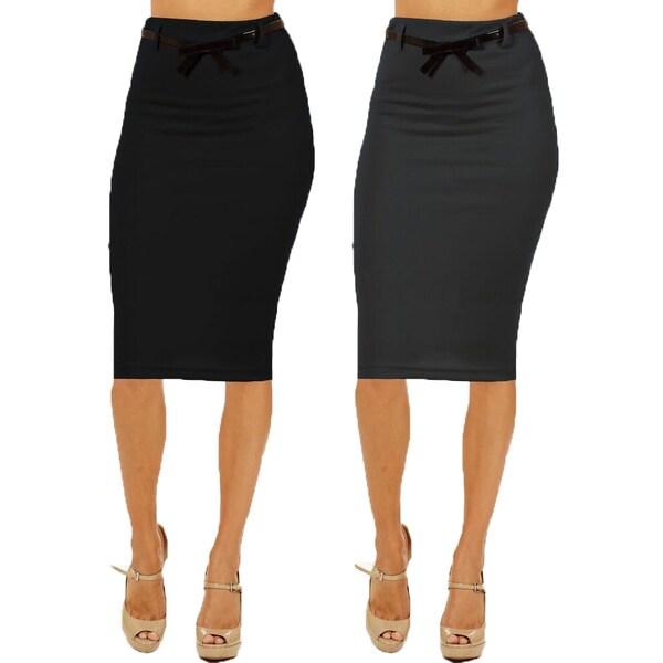 Women's High Waist Below Knee Black/ Grey Pencil Skirts (Pack of 2)