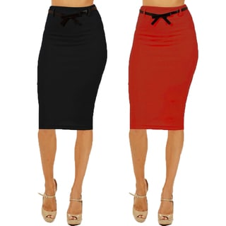 Women's High Waist Below Knee Black/ Red Pencil Skirts (Pack of 2)