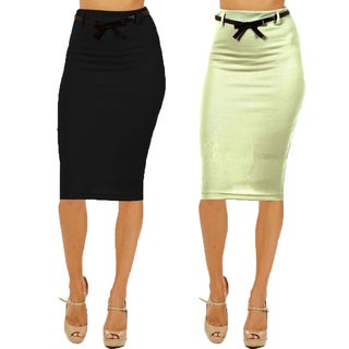 Women's High Waist Below Knee Black/ Mint Pencil Skirts (Pack of 2)