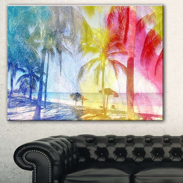 Blue Retro Palm Trees' Landscape Painting Canvas Print