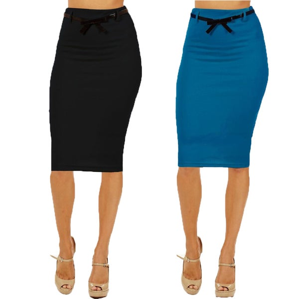 Women's High Waist Below Knee Black/ Blue Pencil Skirts (Pack of 2)