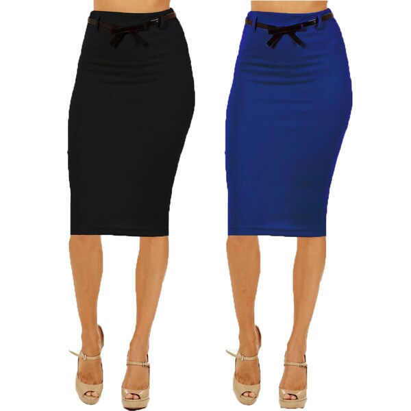 Women's High Waist Below Knee Black/ Navy Pencil Skirts (Pack of 2)