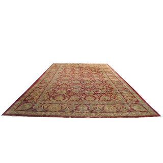 Herat Oriental Indo Persian Hand-knotted Khorasan Red/ Gold Wool Rug (13'8 x 23'7)