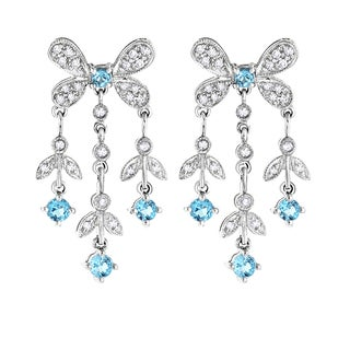 Luxurman 14k White Gold 2/5ct TDW Diamond and Blue Topaz Dangle Earrings (H-I, SI1-SI2)
