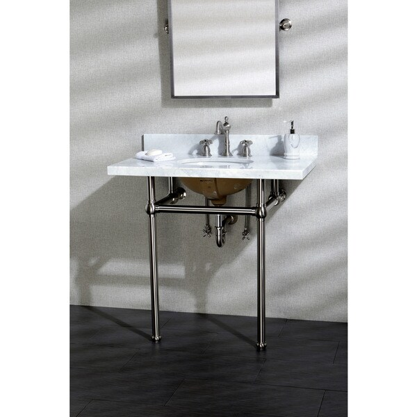 Vintage Carrara Marble 36 Inch Console Sink With Metal